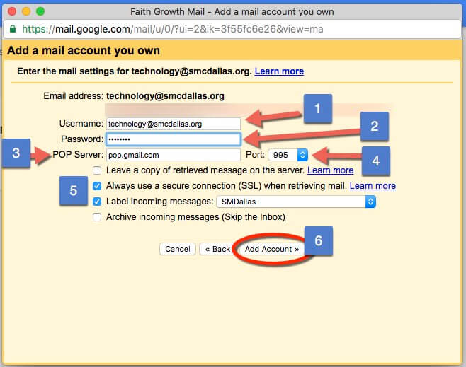 Screen Capture Gmail Add Acocunt